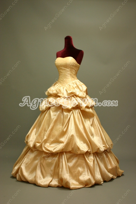Lovely Taffeta Sweetheart Champagne Quinceanera Dresses With Beadings