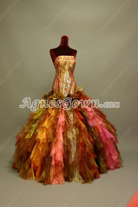Noble Unique Gold Strapless Ball Gown Prom Dress
