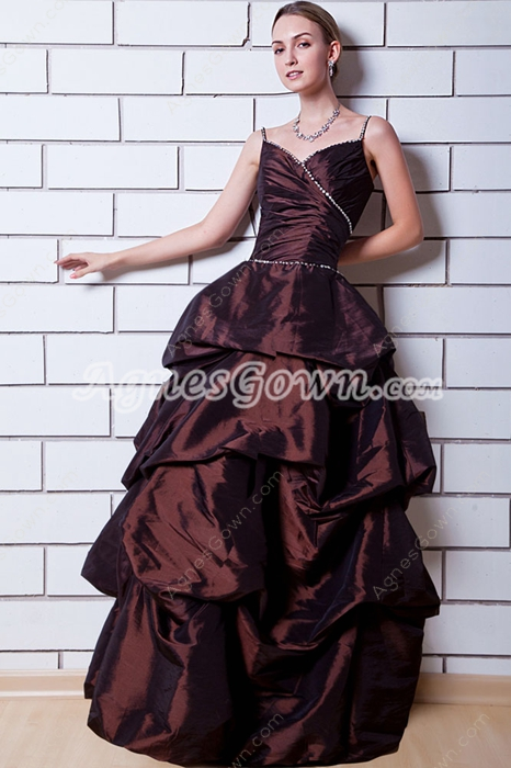 Spaghetti Straps Brown Colored Sweet Sixteen Dress