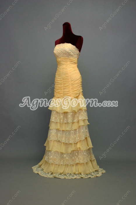 Dramatic Yellow Chiffon Strapless Celebrity Dresses