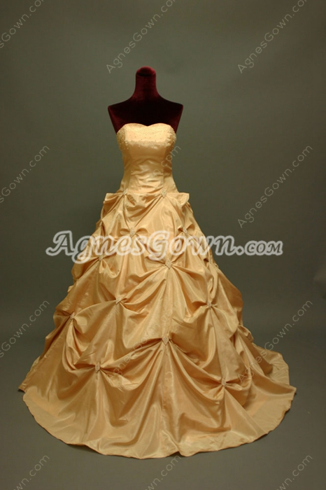 Sweet Champagne Quinceanera Dresses With Rosette