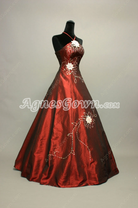 Special Burgundy Taffeta Quinceanera Dresses With Sequins
