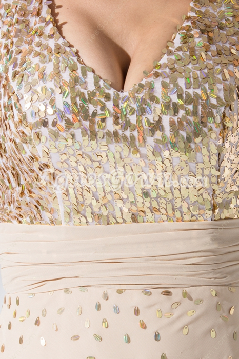 Knee Length Sparkled Champagne Prom Dress