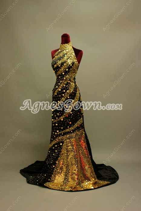 Elegant Gold Sequins Halter Evening Dress