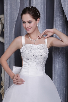Double Straps A-line Full Length Lace Wedding Dress