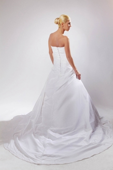 Exclusive White Satin A-line Simple Bridal Gown