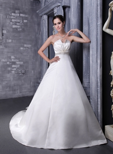 Cowl Neckline Satin Wedding Dress With Handmade Flowers