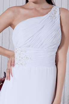 One Straps Beach Wedding Dress With Lace Appliques
