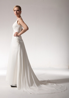 Delicate V-Neckline Chiffon Destination Wedding Dress