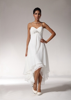 Romantic Spaghetti Straps High Low Beach Wedding Dress