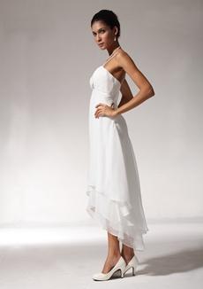 Romantic Spaghetti Straps High Low Beach Wedding Dress