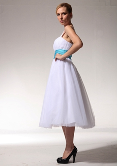 Single Straps Tea Length Beach Wedding Dress With Blue Sash