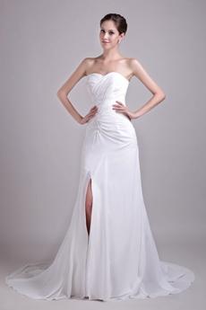 Front Slit Chiffon Summer Beach Wedding Dress