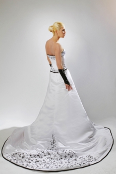 Gothic White & Black Embroidery Wedding Dress