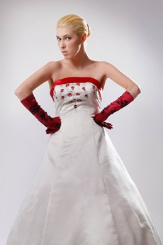 Colorful White & Red Wedding Dress With Embroidery