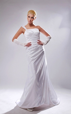 Discount One Straps A-line Satin Wedding Dress