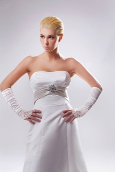 Affordable A-line White Satin Wedding Dress With Sash