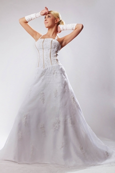 Top Halter A-line White Wedding Dress With Great Handworks