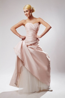 Elegance A-line Pink Taffeta Wedding Dress
