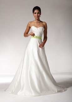 Exclusive A-line White Satin Wedding Dress With Lime Green Sash