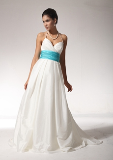 Classy Halter A-line Ivory Wedding Dress With Blue Sash