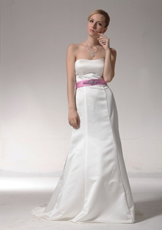Noble A-line White Satin Wedding Dress With Lilac Sash