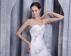 Asymmetrical Waist White Organza Wedding Dress