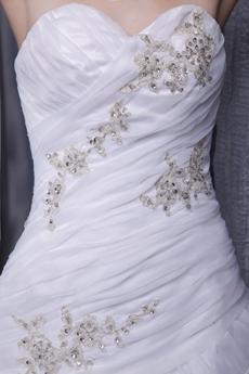 Asymmetrical Waist White Organza Wedding Dress