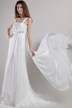 Simple Straps A-line Beach Wedding Dress With Handmade Flowers