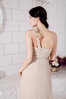 Sassy One Straps Champagne Chiffon Bridesmaid Dress With Handmade Flowers