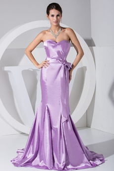 Charming Sweetheart Mermaid Satin Lilac Prom Dress 2016