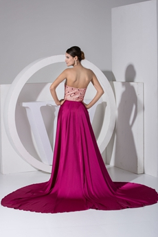 Fashionable Fuchsia Celebrity Evening Dress With Beads