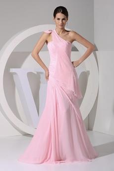 Pretty One Straps Pink Chiffon Celebrity Evening Gown