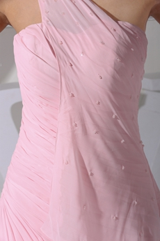 Pretty One Straps Pink Chiffon Celebrity Evening Gown