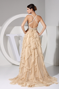 Stunning Low-cut Sweetheart Champagne Prom Dress With Beads