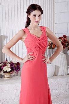 High Slit Watermelon Chiffon Engagement Evening Dress