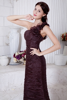 Glamour One Straps A-line Chocolate Formal Evening Dress
