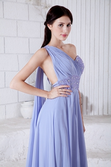 Charming One Shoulder Lavender Chiffon Formal Evening Dress