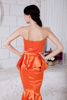 Modern Sweetheart Neckline Mermaid Orange Satin Formal Evening Gown