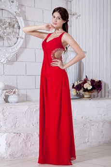 Crossed Straps Back A-line Red Chiffon Evening Dress