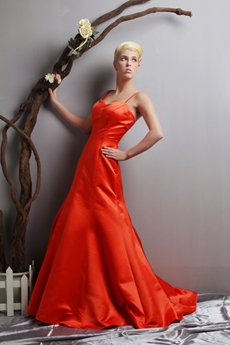 Attractive A-line Orange Satin Prom Party Dress