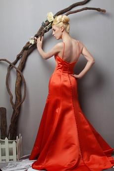 Attractive A-line Orange Satin Prom Party Dress