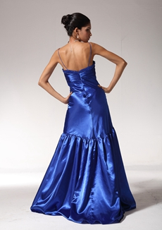 Elegance A-line Royal Blue Satin Prom Party Dress