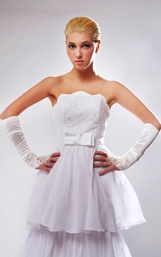 Beautiful A-line 3 Tiered Wedding Dress With Sash