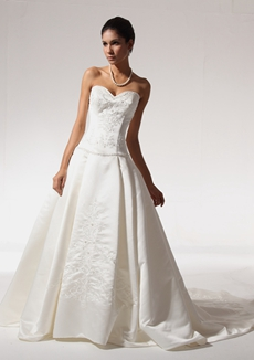 Modest Satin Wedding Dress With Embroidery