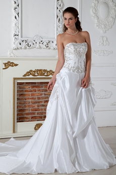 Classy White Satin Plus Size Wedding Dress With Silver Embroidery