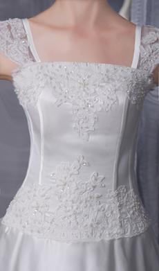 Exquisite Straps A-line Satin Wedding Dress With Lace Appliques