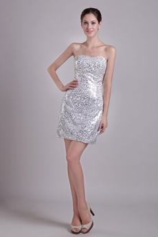 Sparkled Silver Cocktail Dress