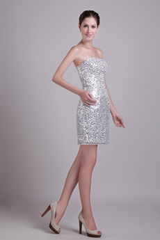 Sparkled Silver Cocktail Dress