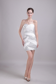 Chic Mini Length White Cocktail Dress With Silver Sequins